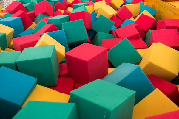 Multicolored foam cubes on the playground